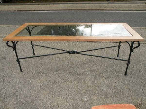 Brocante a lyon for Table salle manger fer forge plateau bois