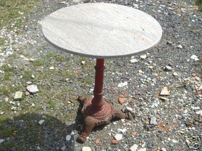 Ancienne table bistrot ronde pied en fonte - Table de bistrot en marbre ...